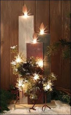 primitive christmas decorations/ This would make a nice porch decoration. Prim Christmas, Christmas Candles, Christmas Centerpieces, Country Christmas, Simple Christmas, Winter Christmas, Christmas Holidays, Centerpiece Ideas, Nordic Christmas