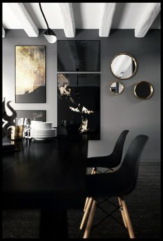 Dining_Room ( Romain Ricard) in black, grey and gold #interior #decor #design
