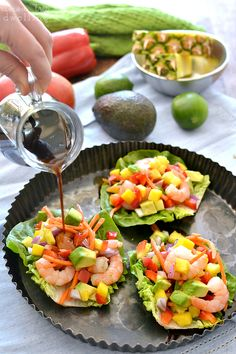 Tropical Shrimp Lettuce Wraps with Honey Lime Soyaki Sauce - for LC/GF sub coconut aminos for soy & teriyaki sauce, sweetener for honey