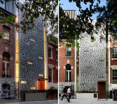 This urban town house's rain screen is designed to create privacy in NYC. The design mimics that of the brick facade of neighboring buildings. The horizontal breaks in the panels represent the different stories of the building hidden behind hit.