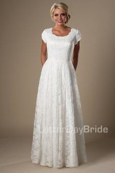 cheap lace modest wedding dresses at LatterDayBride in SLC, the Mapleton in ivory