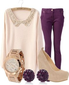 I really should have a pair of purple jeans. :) Very cute outfit, minus the shoes. purple jeans and cream top. Look Fashion, Womens Fashion, Fashion Ideas, Jeans Fashion, Fall Fashion, Fashion Outfits, Brunch Outfit, Swagg, Passion For Fashion