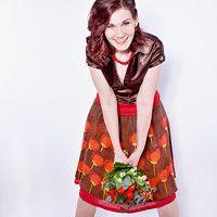 malovaná hedvábná sukně s tulipány