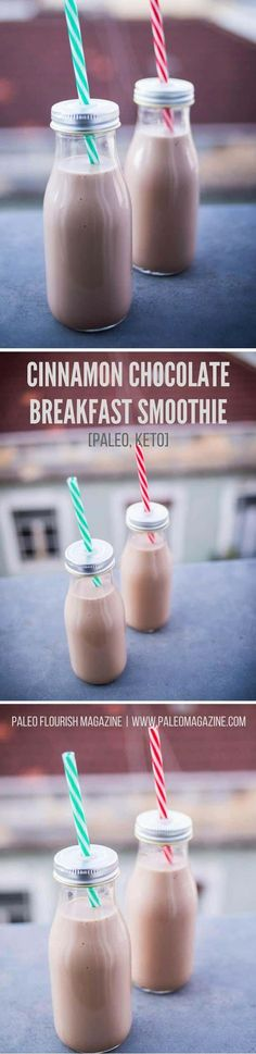 Keto Cinnamon Chocolate Breakfast Smoothie Recipe - this refreshing drink is low carb and full of flavor. It's suitable for both lchf and paleo diets too!