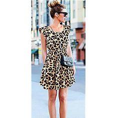 Women Sexy Leopard Mini Dress