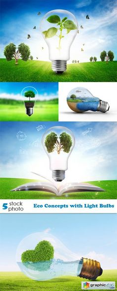 Photos Eco Concepts with Light Bulbs stock images
