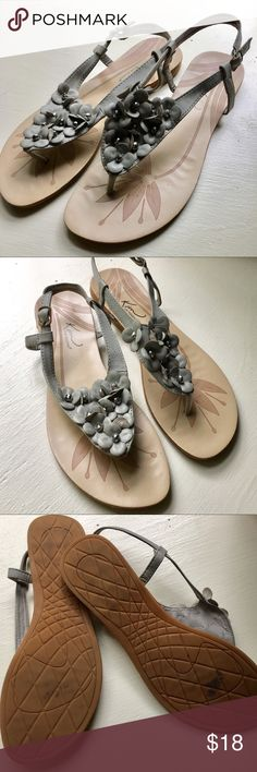 Grey floral sandals Kim Rogers Brittany sandals. Vegan leather flowers with beaded center accent. Hardly worn, all wear visible in pictures. Kim Rogers Shoes Sandals