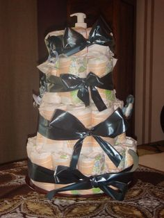 Yippee! It's a boy! ;) Diaper cake for little T.