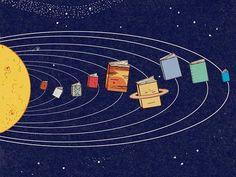 Books, planets in the universe / Libros, planetas del universo (ilustración de Harriet Russell)