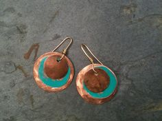 Copper Earrings with Patina Turquoise by YMBlueOriginals on Etsy, $28.00