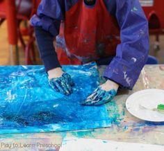 Polar Bear Process Art (Play to Learn Preschool) Preschool Art Projects, Preschool Learning Activities, Art Activities, Preschool Curriculum, Winter Activities, Kindergarten, Polar Bear Paint, Letter D Crafts, Paper Plate Masks