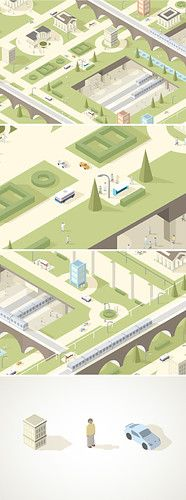 Nice color palette and smooth style on this isometric illustration. Isometric Map, Isometric Drawing, Isometric Design, Flat Illustration, Digital Illustration, Low Poly, Illustrator, Architecture Drawings, Map Design
