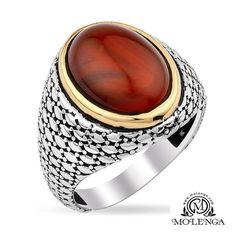 Akik Taşlı Erkek Yüzük Kırmızı Renkli Katlı #yüzük #erkekyüzük #silver #taşlıyüzük #gümüşerkekyüzük #ring #fashion #tasarım #moda #trend