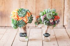 Bouquet Inspiration: we love these brides colorful bouquets with succulence! via The Brides Cafe #bridal #flowers