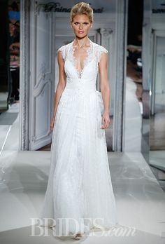 Pnina Tornai v-neck sheath gown in lace