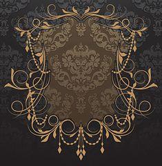 装飾チェーンとフローラル装飾のヴィンテージフレーム(3)