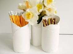 diy torn clay vases