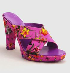 GUCCI Canvas Pink Lilac Floral Print Platform Sandals Slide Mules High Heel  #Gucci #PlatformsWedges #SpecialOccasion