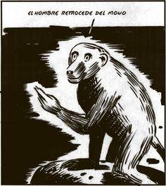 El hombre retrocede del mono (El Roto)