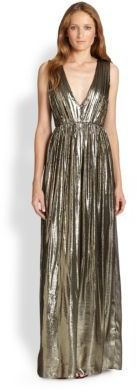 saw this at the rack, couldn't justify the purchase - Alice + Olivia Issa Pleated Lamé Gown