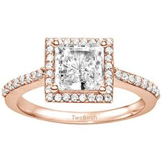 14k Rose Gold Princess Cut Halo Promise Ring with Cubic Zirconia (0.7 ct. tw.). Search TB-PR-0030 on Amazon.com search bar above to see this ring with all of its variations. All TwoBirch ring guards and ring wraps are available in platinum, gold , silver, diamond moissanite and cz. Item in image is smaller than it appears. It is enlarged to show details. Promise rings can also be worn as right hand ring or engagement ring. TwoBirch promise rings are made in high quality, solid metal, built…