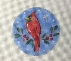 $11.95       Cardinal Red Bird in the Snow Handpainted by MarsyesShoppe on Etsy