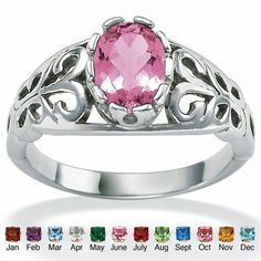 Antiqued Silver Birthstone Ring Birthstone: JUN - Alexandrite, Size: 6 - Fashion Jewelry