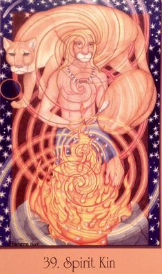 """Daily Angel Oracle card: Spirit Kin, from the Sacred Geometry Cards For The Visionary Path, by Francene Hart Spirit Kin: """"Courage, Transformation"""" """"This shaman dances and drums ar…"""