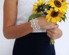 Pearl | Lace Bracelet with Beads | Wedding Bracelet | Bridal Jewelry | Bracelet For the Bride | Handmade Bobbin Lace Jewelry from Slovenia