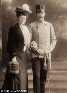 This picture shows Archduke Franz Ferdinand and his wife Sofia on the day of his assassination. On Sunday, June 28th, 1914, at 10:45 am, Franz Ferdinand was killed at the capital of Austro-Hungarian province by Gavrilo Princip. His death caused war to break out.