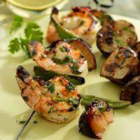 Cilantro-Lime Shrimp and Plum Kebabs