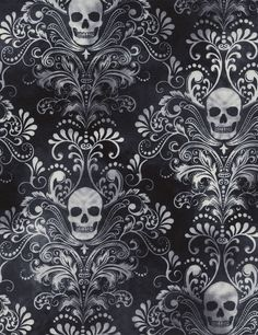 Timeless Treasures Skull Damask Totenkopf Gothic Patchworkstoff Stoffe Halloween