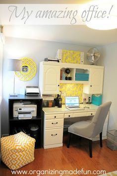 My Gray and Yellow Office ~ The transformation of this gray and yellow office is phenomenal!  The punch of yellow adds a sunny and lively feel to the room.  The desk was painted white and a magnetic board was added for a backsplash.  A library sitting area was also created.