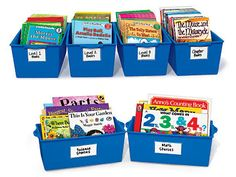 Keep books of all sizes organized and accessible to students with Lakeshore's Help-Yourself Book Boxes!