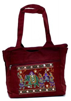 Traditional Ethnic Elephant Dark Red Color Embroidered Indian Rajasthani Bag e7f47981f7e5d