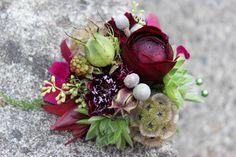 wedding flowers boutonniere wrist corsage succulent orchid berries texture scabiosa http://sophisticatedfloral.com