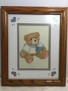 """Completed Teddy Bear Sailor Cross Stitch on Aida Framed 11.5"""" X 9.5"""" Finished"""