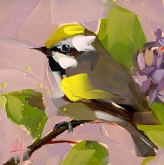 Goldcrest Bird Art Print by Angela Moulton 6 x 6 inch