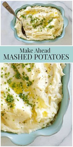 Make Ahead Mashed Potatoes recipe from RecipeGirl.com #make #ahead #makeahead #mashed #potatoes #mashedpotatoes #best #recipe #RecipeGirl via @recipegirl