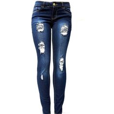 JK41 Juniors WOMENS DARK BLUE Denim JEANS Destroy Skinny Ripped... ($19) ❤ liked on Polyvore featuring jeans, pants, bottoms, calças, super destroyed skinny jeans, skinny leg jeans, destroyed jeans, super distressed skinny jeans and ripped jeans