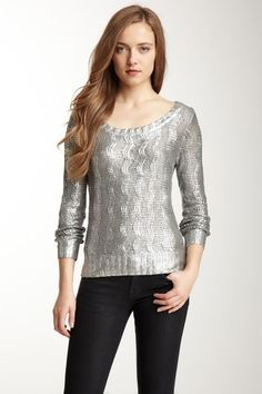 Long Sleeve Cable Knit Sweater by Gracia on @HauteLook