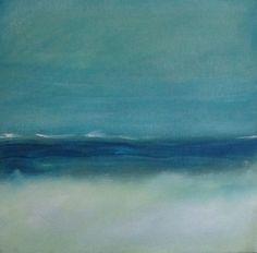 Painting Acrylic Original Aqua Wave Abstract Seascape