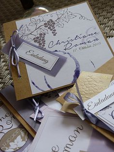 Auswahl Hochzeitskarten, Wein, Rebe, Weinglas Einladungskarten Hochzeit Zum  Thema Wein In Flieder Und. Wedding InvitationStationery