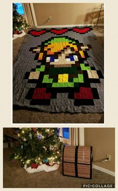 Legend of Zelda Granny Square Blanket and the Chest I Gifted it in. - Imgur