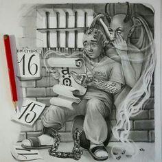 Lettrage Chicano, Chicano Art Tattoos, Chicano Drawings, Gangster Tattoos, Body Art Tattoos, Jail Tattoos, Irezumi Tattoos, Tattoo Lettering Design, Graffiti Lettering Fonts