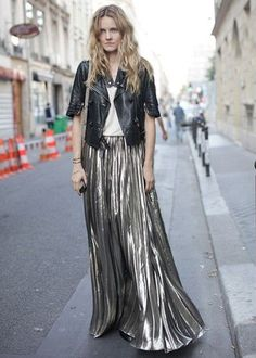 Metallic pleated maxi skirt with leather moto jacket
