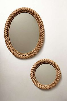 Mirror option for over the vanity- rope mirror from anthropologie, i have also seen these at homesense Rope Mirror, Diy Mirror, Rope Frame, Home Crafts, Diy Home Decor, Room Decor, Ethno Design, Nautical Home, Nautical Mirror