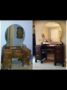 staining wood vanity vintage renew, painted furniture, Before and after side by side