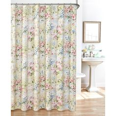 Shop for Giverny Fabric Plisse Shower Curtain Set. Get free delivery On EVERYTHING* Overstock - Your Online Shower Curtains & Accessories Store! Get in rewards with Club O! Curtain Sets, Bathroom Curtains, Cloth Shower Curtain, Fabric Shower Curtains, Floral Shower Curtains, Curtain Fabric, Curtain Material, Beauty Bathrooms, Curtains