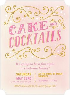 Sweet cake & cocktails party invitation.